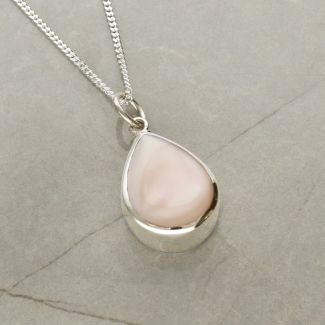 Sterling Silver Teardrop Pink Mother Of Pearl Urn Cremation Ashes Pendant With Optional Engraving & Chain