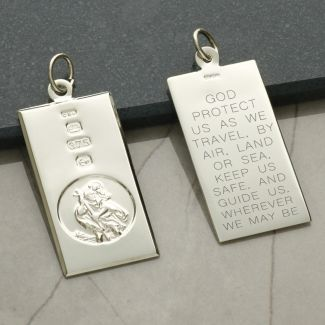 9ct White Gold Custom Hallmarked Large St Christopher Ingot With Travellers Prayer and Optional Chain