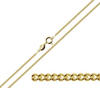 9ct Yellow Gold Plated 1.1mm Diamond Cut Curb Chain