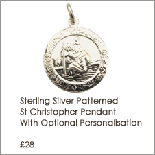 Sterling Silver Patterned St Christopher Pendant With Optional Personalisation and Chain