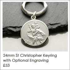 Sterling Silver Personalised St Christopher Keyring
