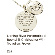 Sterling Silver Personalised Round St Christopher With Travellers Prayer and Optional Engraving