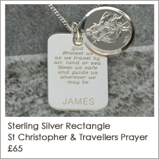 Silver Personalised Rectangle St Christopher With Travellers Prayer