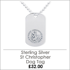 Sterling Silver Photo Engraved St Christopher Dog Tag