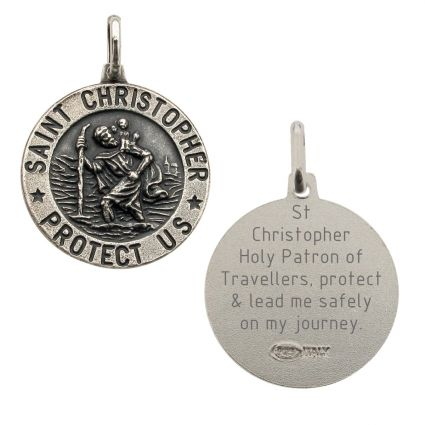 Antique Finish Sterling Silver 18mm 3D St Christopher Pendant With Travellers Prayer
