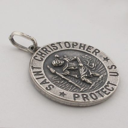 Antique Finish Sterling Silver 18mm 3D St Christopher Pendant