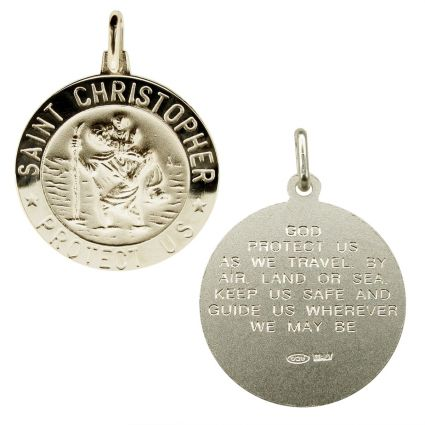 Sterling Silver 24mm 3D St Christopher Pendant With Travellers Prayer