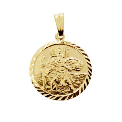 9ct Yellow Gold Plated Diamond Cut 19mm St Christopher Pendant