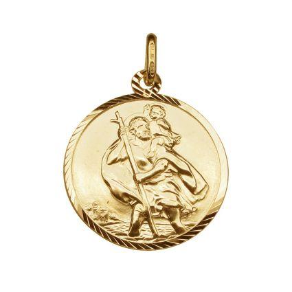 9ct Yellow Gold Plated Diamond Cut 20mm St Christopher Pendant