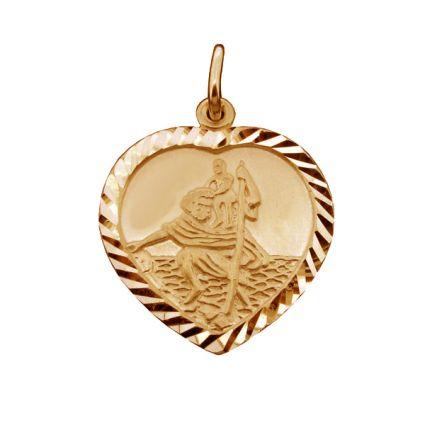 9ct Rose Gold Plated Diamond Cut Heart St Christopher Pendant