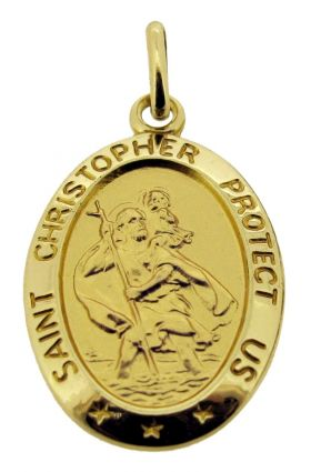 9ct Yellow Gold Satin Oval St Christopher Pendant