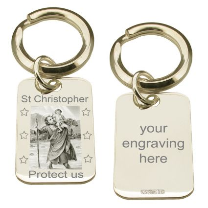 Sterling Silver Photo Engraved St Christopher Keyring With Optional Engraving