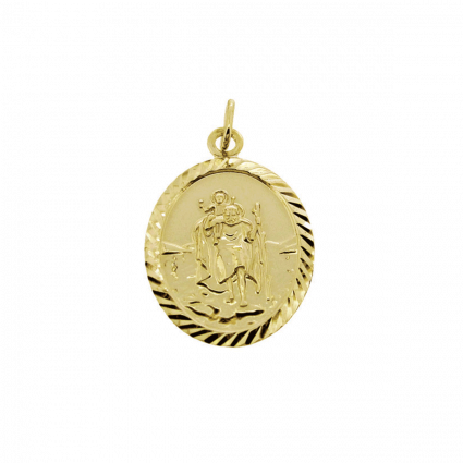 9ct Yellow Gold Plated Diamond Cut Oval St Christopher Pendant With Optional Engraving and Chain
