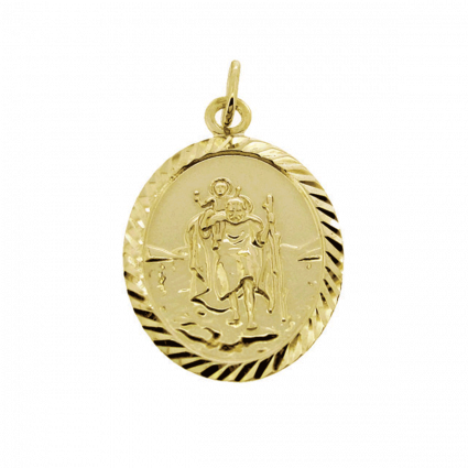 9ct Yellow Gold Diamond Cut Large Oval St Christopher Pendant With Optional Engraving and Chain