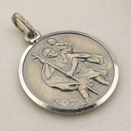 Antique Finish Sterling Silver 12mm St Christopher Pendant