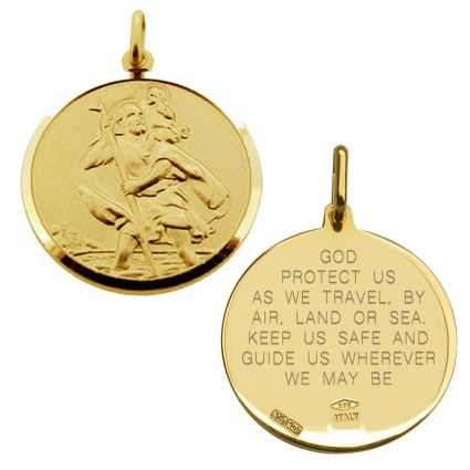 9ct Yellow Gold 20mm St Christopher Pendant With Travellers Prayer