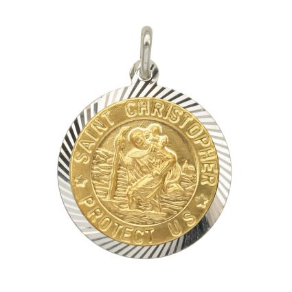 Sterling Silver and Gold Plated 21mm Diamond Cut St Christopher Pendant