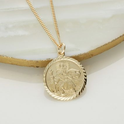 9ct Yellow Gold Plated Diamond Cut 19mm St Christopher Pendant With Optional Engraving and Chain