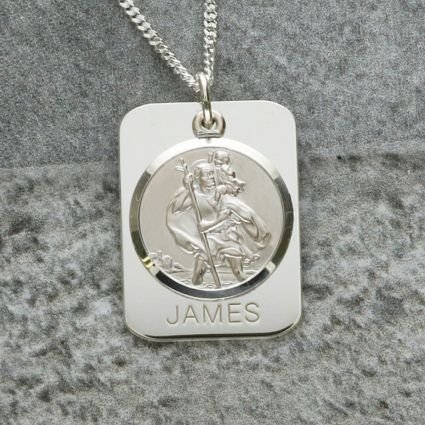 Sterling Silver Personalised Rectangle St Christopher With Travellers Prayer