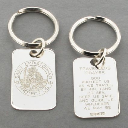 Sterling Silver Engraved St Christopher Keyring With Travellers Prayer