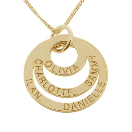 9ct Yellow Gold Triple Disc Personalised Family Necklace