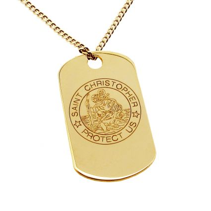 9ct Yellow Gold St Christopher Dog Tag With Optional Engraving and Chain