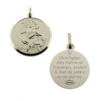 Sterling Silver 16mm St Christopher Pendant With Travellers Prayer