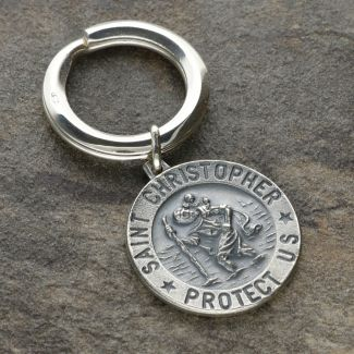 Antique Finish Sterling Silver 24mm 3D St Christopher Keyring With Travellers Prayer and Engraving