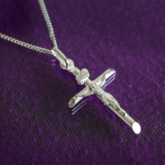 9ct Solid White Gold Crucifix Pendant