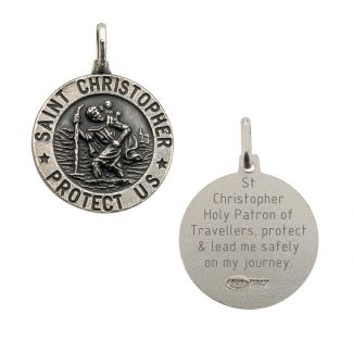 Antique Finish Sterling Silver 15mm 3D St Christopher Pendant With Travellers Prayer