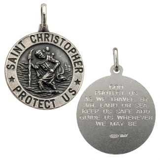 Antique Finish Sterling Silver 24mm 3D St Christopher Pendant With Travellers Prayer