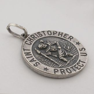 Antique Finish Sterling Silver 24mm 3D St Christopher Pendant