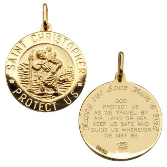 9ct Yellow Gold 21mm 3D St Christopher Pendant With Travellers Prayer & Optional Engraving