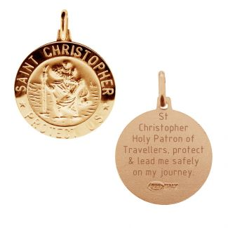 9ct Rose Gold Plated 18mm 3D St Christopher Pendant With Travellers Prayer