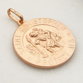 9ct Rose Gold Plated 12mm 3D St Christopher Pendant