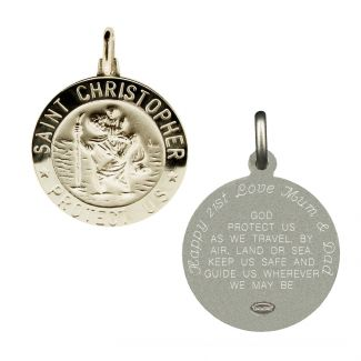 Sterling Silver 21mm 3D St Christopher Pendant With Travellers Prayer With Optional Engraving