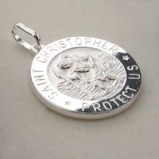 Sterling Silver 15mm 3D St Christopher Pendant