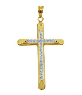 9ct Yellow Gold Plated on Sterling Silver CZ Set Cross Pendant