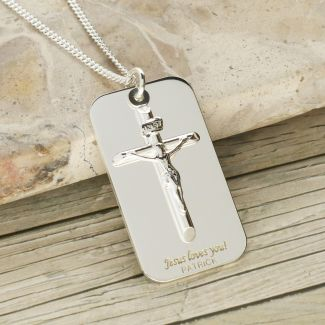 Sterling Silver Crucifix & Tag Pendant With Optional Engraving and Chain