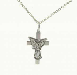 Sterling Silver Guardian Angel on Cross Pendant