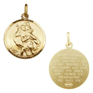 9ct Yellow Gold Plated Diamond Cut 16mm St Christopher Pendant With Travellers Prayer