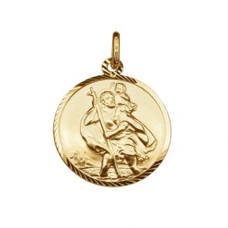 9ct Yellow Gold Diamond Cut 18mm St Christopher Pendant With Optional Engraving and Chain