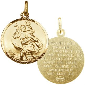 9ct Yellow Gold Plated Diamond Cut 20mm St Christopher Pendant With Travellers Prayer
