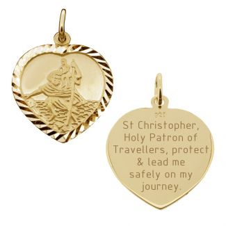 9ct Yellow Gold Plated Diamond Cut Heart St Christopher Pendant With Travellers Prayer