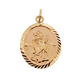 9ct Yellow Gold Plated Diamond Cut Large Oval St Christopher Pendant