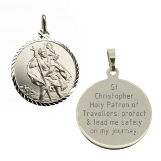 9ct White Gold Diamond Cut 18mm St Christopher Pendant With Travellers Prayer