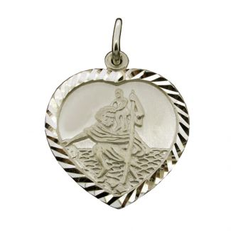 Sterling Silver Diamond Cut Heart St Christopher Pendant