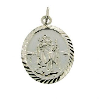 Sterling Silver Diamond Cut Large Oval St Christopher Pendant