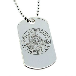 Sterling Silver Large St Christopher Dog Tag