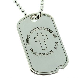 Sterling Silver Dog Tag With Cross On  Chain